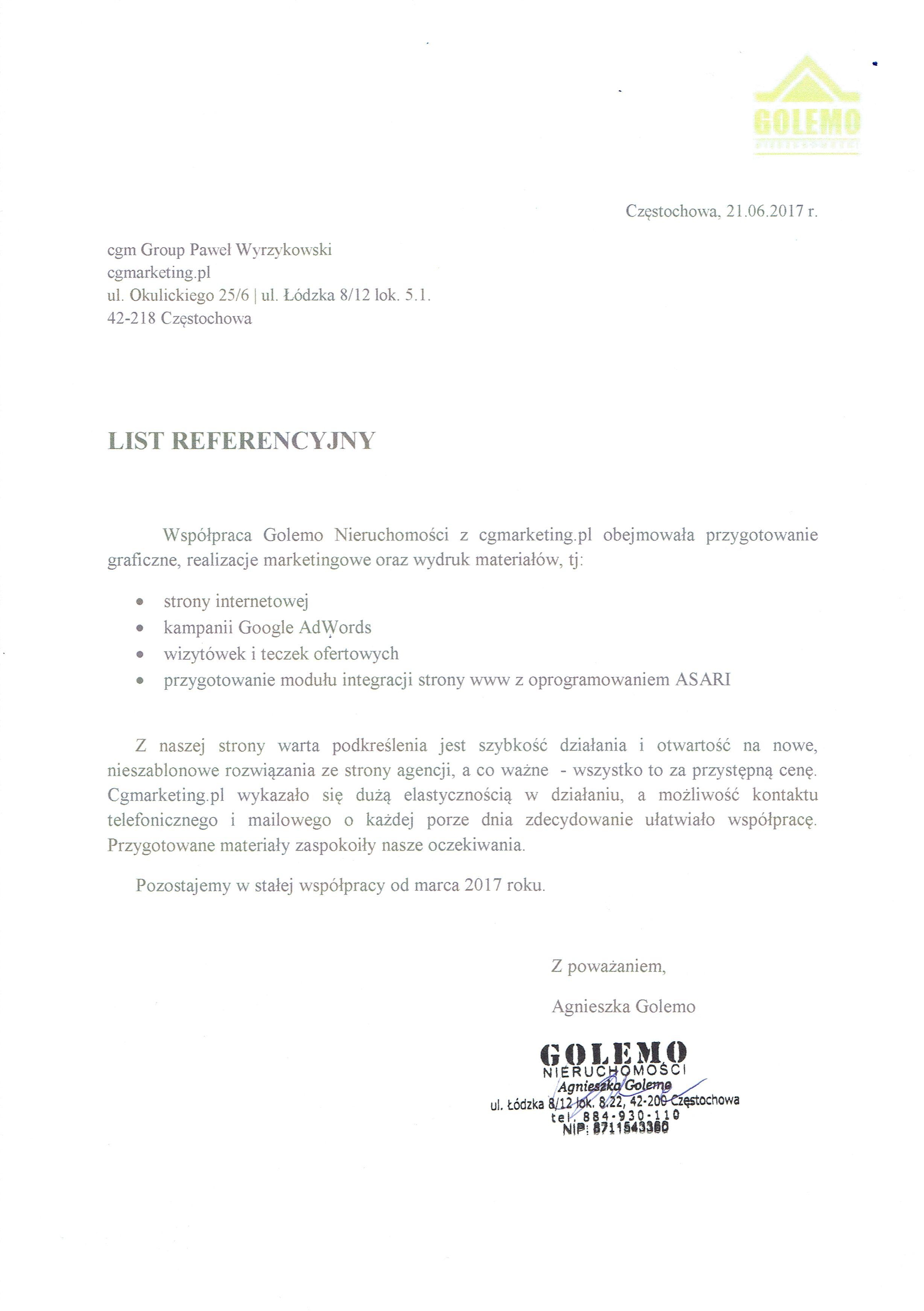 Referencje-Agencja-Nieruchomości-Golemo