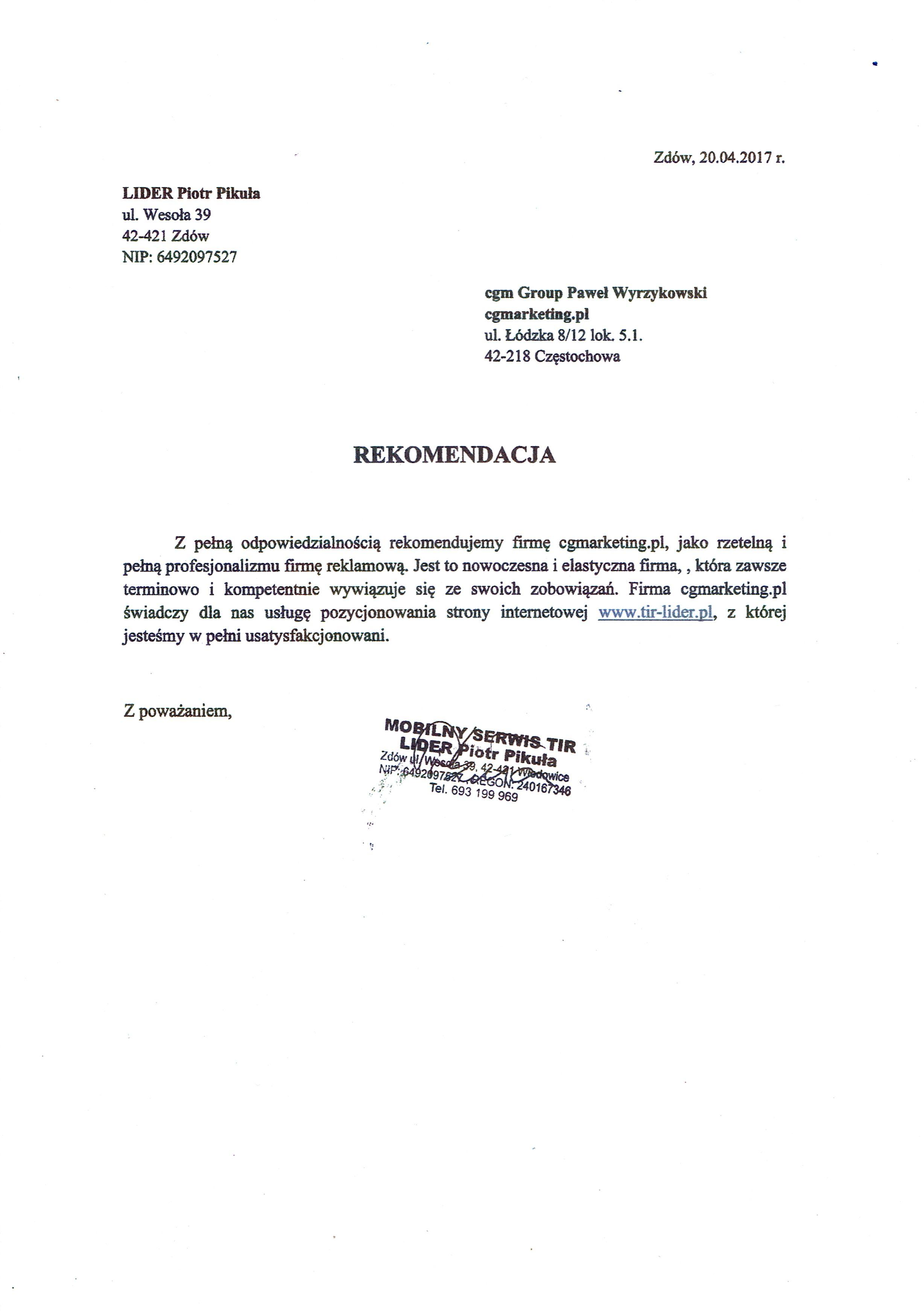 Referencje-Firma-Tir-Lider