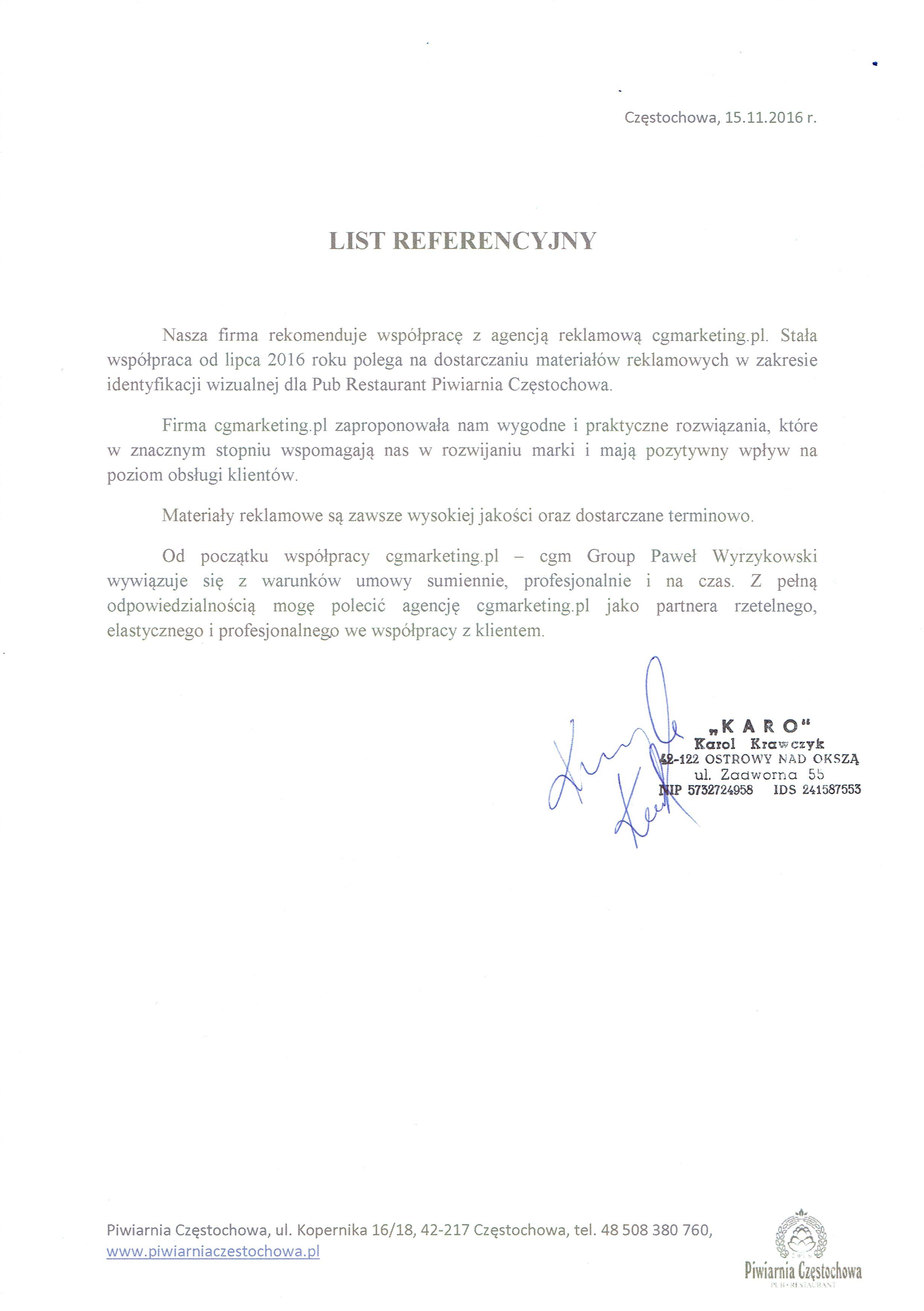 Referencje-PiwiarniaCzęstochowa