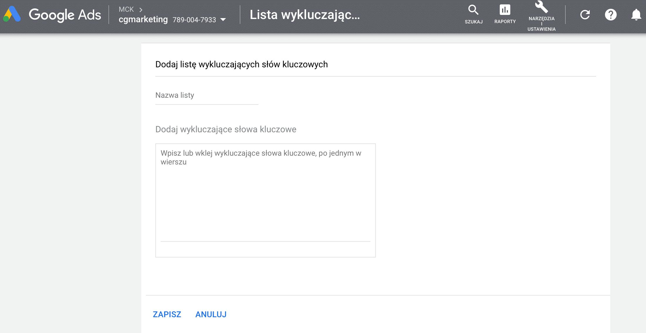 Lista wykluczeń w Google Ads